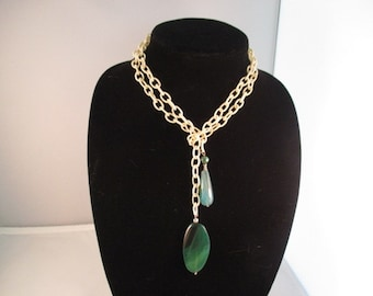 Ivory Silk Chain Necklace Green Semi Precious Gemstone Pendants.