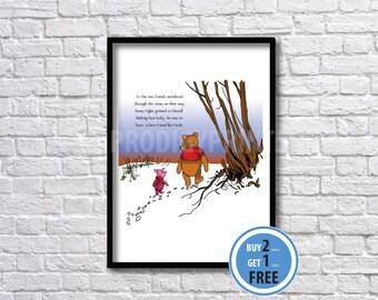 Winnie the Pooh art print, Winnie the Pooh kids art.