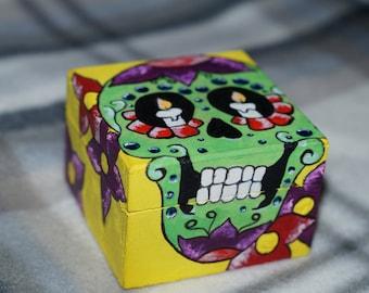 Hand Painted Sugar Skull Trinket Box