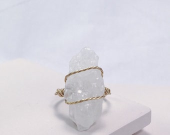Raw Calcite Wire Wrapped Ring