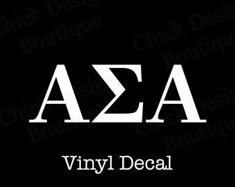 Alpha Sigma Alpha Greek Alphabet Letters Vinyl Decal