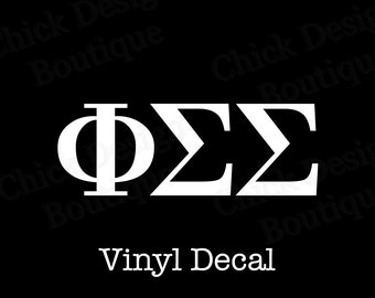 Phi Sigma Sigma Greek Alphabet Letters Vinyl Decal