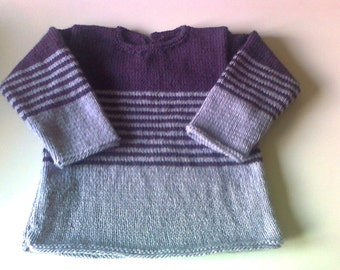 knitted striped violet - 24 months