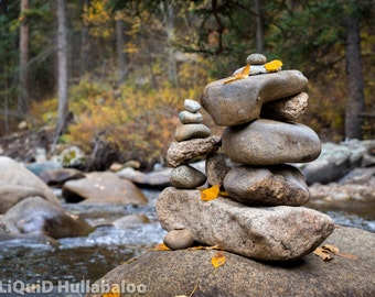 stacked river rocks - cairn - printed on canvas