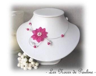 "Pink Fuchsia flowers white silk ""Tradition"" Eva necklace wedding"