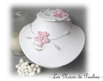 Pink flowers wedding silk Eva 2 piece set