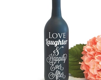 Happily Ever After Wine Bottle Vase Vinyl Decal for Wedding Centerpiece Decoration