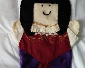 Felt puppet, Queen puppet, Asian puppet, light skin, black hair
