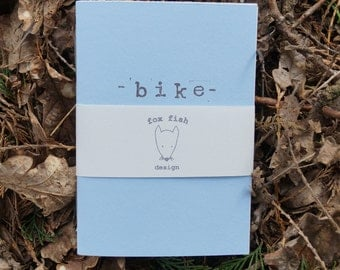 Bike journal, handmade A6 journal, pre-printed pages to help you remember all your epic bike rides