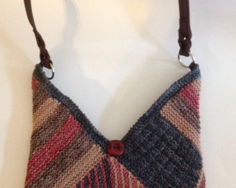 Handmade bag knitted with Hand-dyed cotton yarn