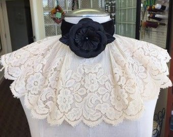 Black Rose and Vintage Lace Bib