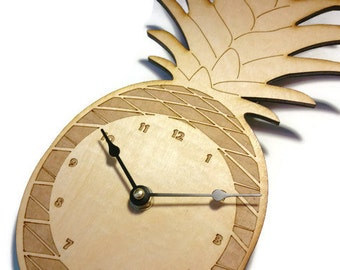 Wood Laser Cut Engraved Etched Pineapple Clock - Kitchen Decor