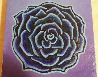 Blue Rose 10x10 Acrylic Painting