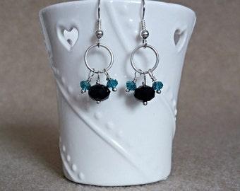 Handmade Black and green crystal dangle earrings
