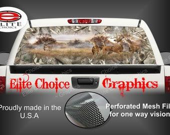 Whitetail Buck Deer Obliteration Camo Rear Window Graphic Tint Decal Sticker Truck SUV Van Car