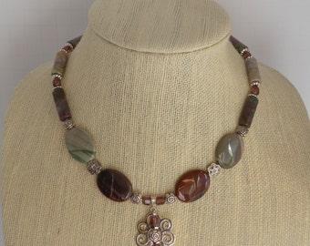 New! Handmade Impression Jasper Flower Pendant Necklace