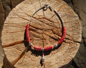 NEW! Coral Red Magnesite Necklace