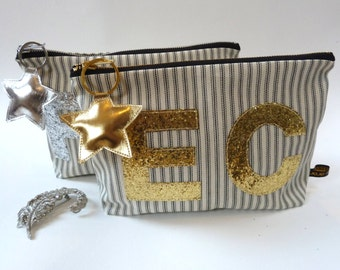 Personalised Glitter Monogram Purse or Wash Bag