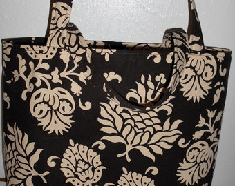 Carry All Tote - Dark Chocolate Damask
