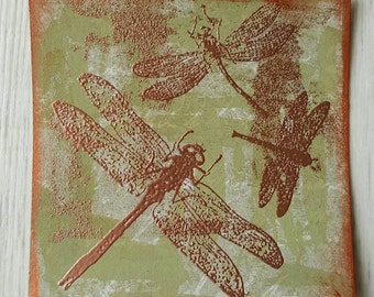 Pistachio green and copper embossed dragonfly piece 9cm x 9cm