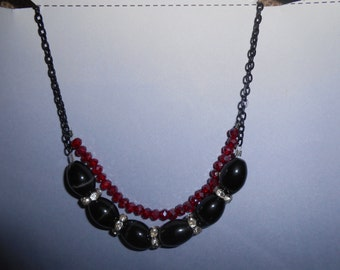 """Black & Red beaded Necklace 20"""""""