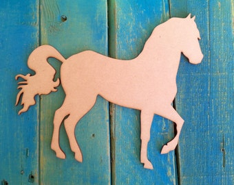 """Unfinished, wooden, horse, DIY craft, unpainted for wall decor, wreath, room, avaiable from 1"""" to 42"""" tall"""