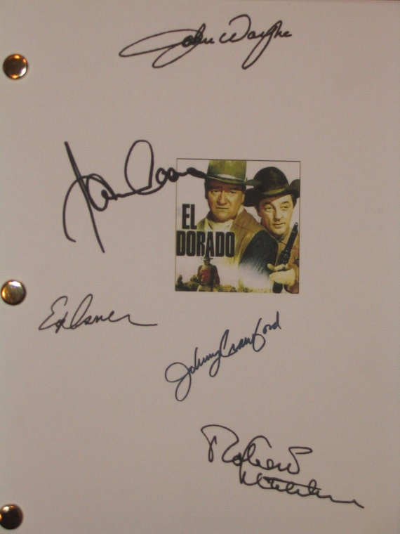 El Dorado Signed Script Screenplay Autograph John Wayne James Caan Robert Mitchum  Edward Asner Johnny Crawford signature