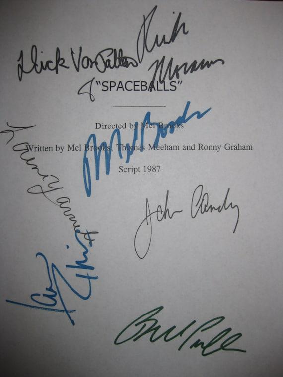 Spaceballs Signed Film Movie Screenplay Script Autographs Mel Brooks Joan Rivers John Candy Rick Moranis Bill Pullman Dick Van Patten reprnt
