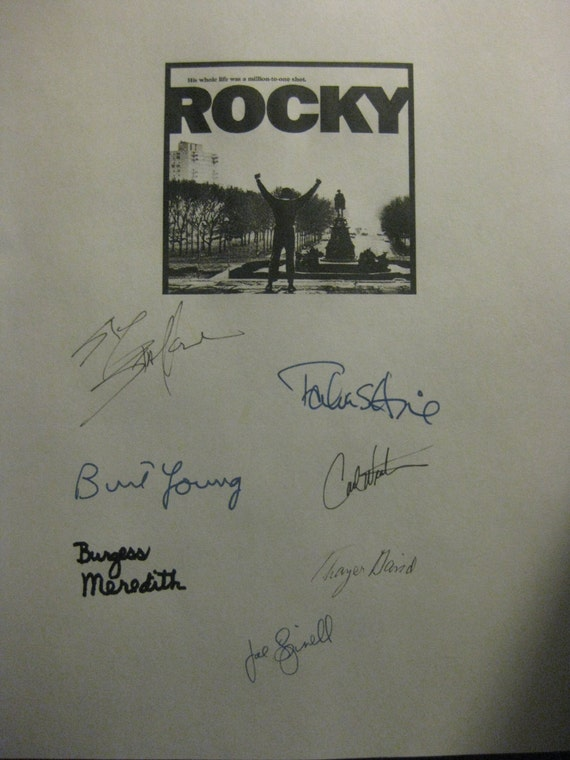 Rocky Signed Film Movie Script Screenplay Sylvester Stallone Talia Shire Burt Young Carl Weathers Burgess Spinell Meredith Autograph classic