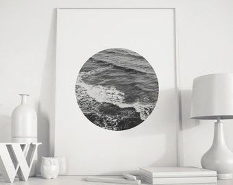 Ocean art, Ocean print, ocean photo, Ocean decor, Black White Photo, beach decor, beach photo, minimalist photo art, modern minimalist art