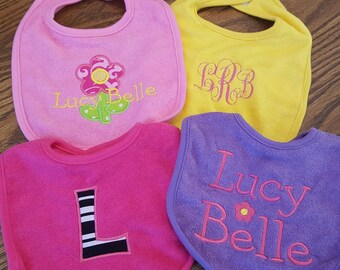 Set of 4 Personalized Baby Bibs