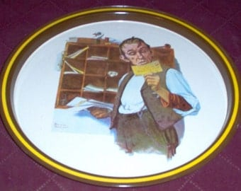 "Vintage Postal Collectors Tin Tray ""Norman Rockwell"" 1976 First Ltd. Edition"