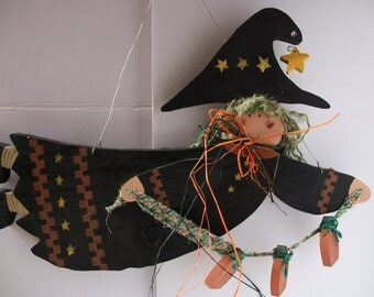 Witch wall hanging, Halloween decoration, Witch wall decoration, Black witch