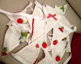 Summery Red & White Bunting; Strawberries and Ladybirds