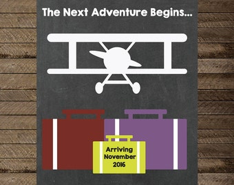 Pregnancy Announcement, Pregnancy Chalkboard Announcement Sign, The Next Adventure, Airplane theme announcement, Pregnancy Reveal, New Baby