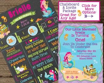Mermaid Chalkboard Sign, Mermaid Birthday Party, Mermaid Invite, First Bday, Second, Mermaid Theme, Mermaid invitation, birthday chalkboard
