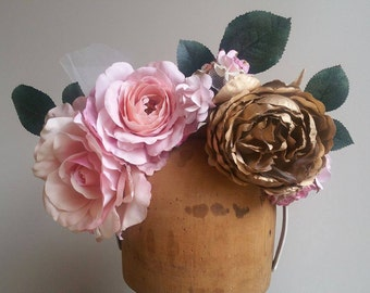 Luxe Flower Crown - Pink & Gold