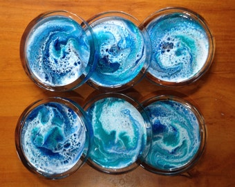 Resin covered Glass Coasters Set 6