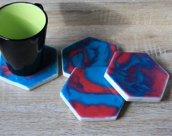 Set 4 Resin coated heaxagon marble coasters