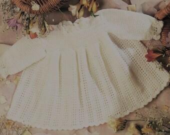 White Long Sleeve Dress Crochet Pattern. PDF Instant Download.