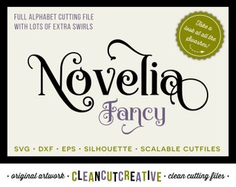 Full Alphabet SVG Fonts Cutfile - Fancy Curls cricut font - Studio3 DXF EPS - Silhouette Cameo - commercial use clean cutting digital files
