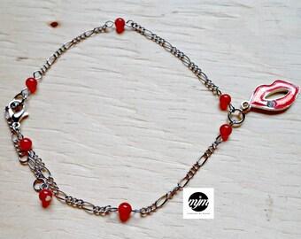 Bracelet ankle lips, mini agates Red