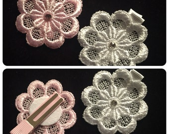 Flower Venise Lace Hair Clips with Swarovski Crystal