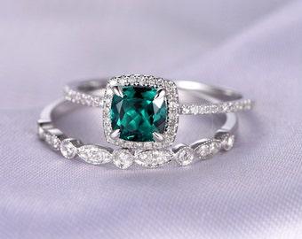 2pcs Wedding Ring Set,Emerald Engagement ring,14k White gold,Halo diamond Matching Band,6mm Cushion,Personalized for her/him,Custom ring