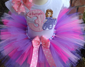 Sofia the First Sophia Birthday Party Tutu Outfit Dress Set Handmade 1st 2nd 3rd
