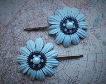 Steampunk Light Blue Flower Hair Pins