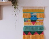 Mural woven wallhanging. Hand made in France by chaumière oiseau. One-of-a-kind contemporary weaving for a boho folk style homedecor.