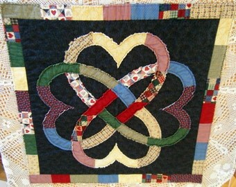 """Quilt Art """"Hearts United, Hearts Galore"""" ..MatildART Quilted Wall Hanging  .See shop for more Art, Baby Quilts, Dog Quilts and Corn Bags!"""