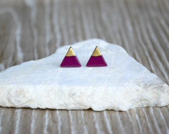 Turnip Clay Triangle Studs with 18k Gold, Silver or Copper, Polymer Clay Earrings, SGCE10