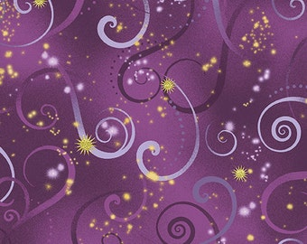 Dance of the Dragonfly Swirling Sky Deep Purple 8500M-66 - from Kanvas Studios for Benartex